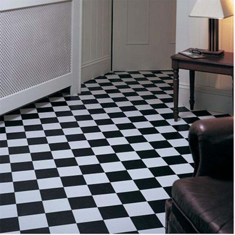 Rhinofloor elite tiles pisa black white 5765016 vinyl for Black vinyl floor tiles