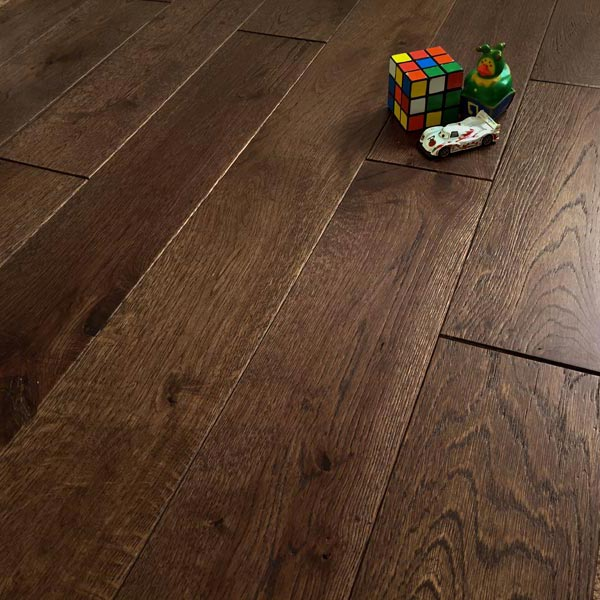 Abbey Quin Coffee Oak 125mm Rustic Brushed Matt Lacquered Solid Wood  Flooring ...