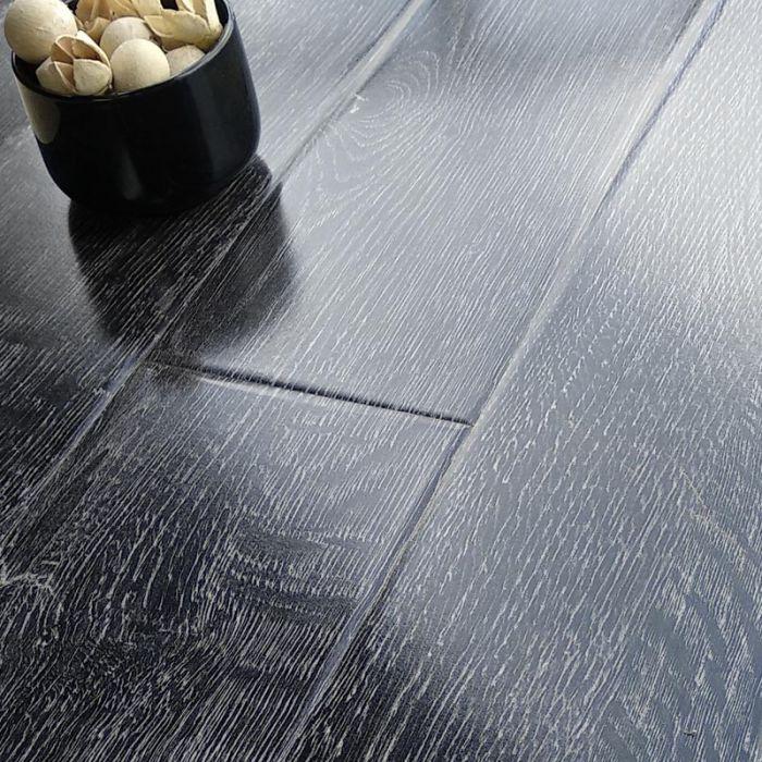 Prestige Gloss Black Grey Oak 8mm V Groove Laminate Flooring