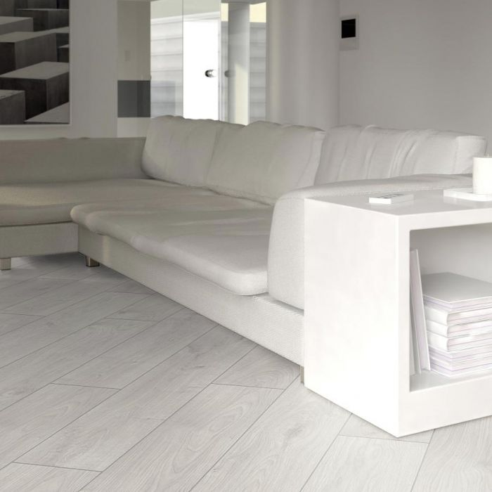 Prestige White Oak 8mm V Groove, White Herringbone Laminate Flooring