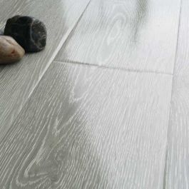 Prestige Gloss Light Grey Oak 8mm V Groove Laminate Flooring