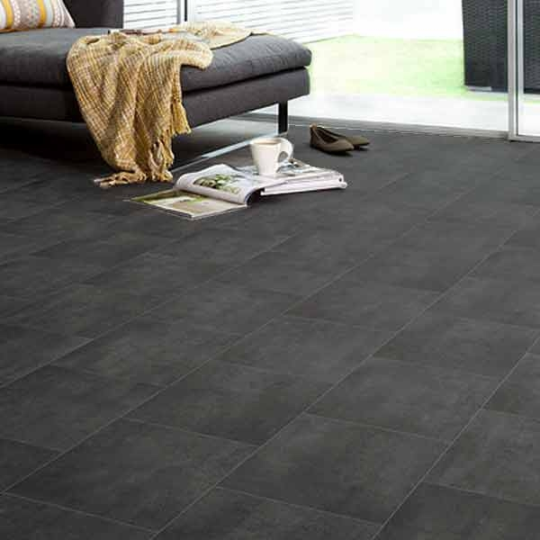 Ecostep black slate tile 589 cushioned vinyl flooring for Cushioned vinyl flooring