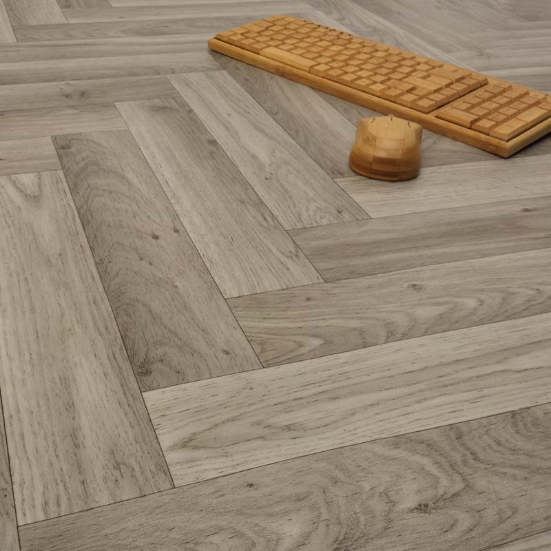 Ecostep herringbone grey 906 cushioned vinyl flooring for Cushioned vinyl flooring