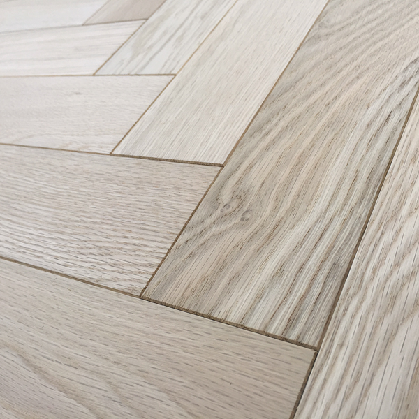 Herringbone parquet 18mm unfinished oak engineered for Unfinished oak flooring