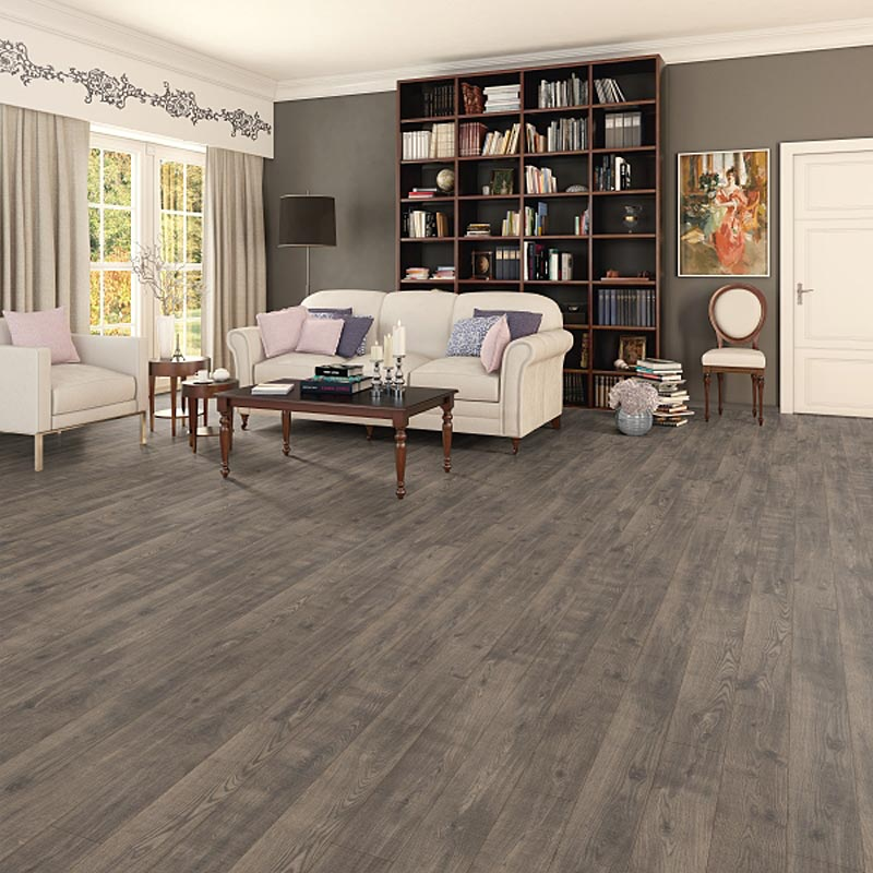 Prestige Grey Brown Oak 8mm V Groove Laminate Flooring