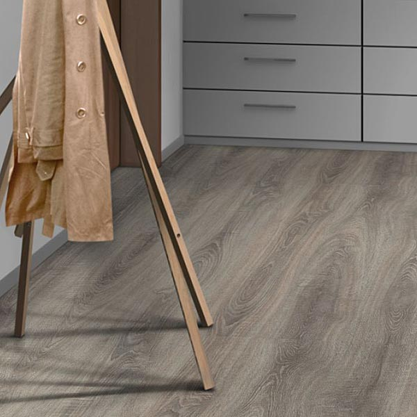 Click Laminate Flooring laminate flooring with underpad attached Prestige Toscolano Silver Grey Oak V Groove 7mm Click Laminate Flooring