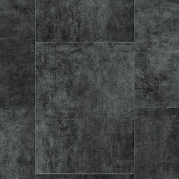 Rhinofloor elite tiles texceram black 5765060 vinyl for Black vinyl flooring bathroom