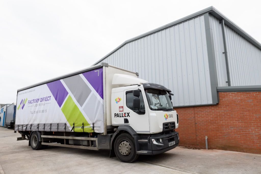 factory direct flooring lorry by pall-ex and wynwood logistics