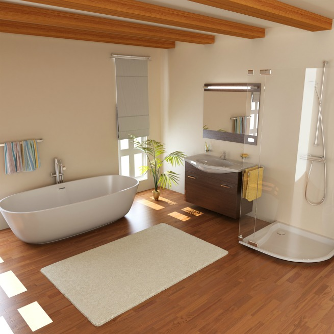 image of bathroom with laminate