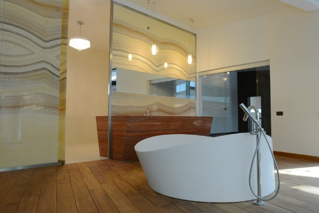 solid wood floor in bathroom