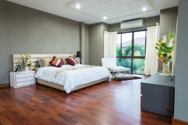image of bedroom with wood floor