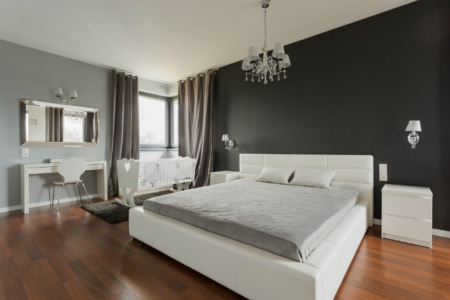 Image of bedroom with wooden floor