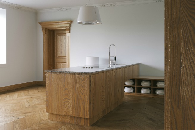 image of kitchen with wood floor
