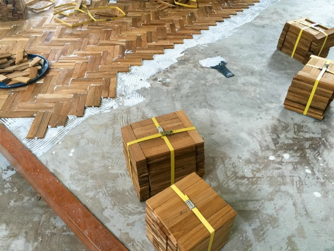 Image of parquet floor being laid