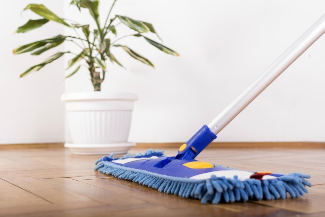 an image of a mop on laminate flooring