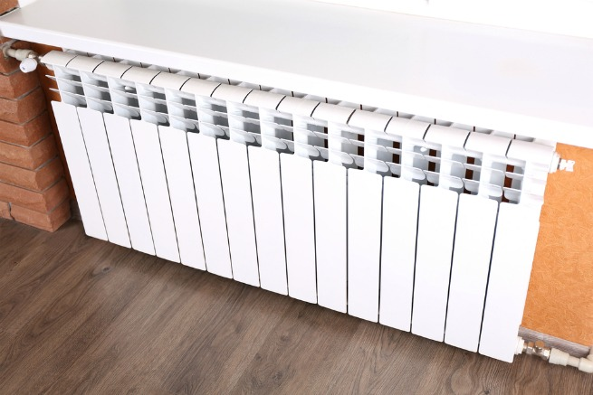 image of radiator and wood floor