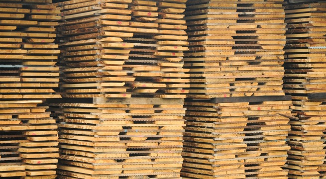 Image of floor planks stacked up