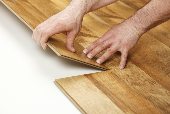An image showing the click method for laminate flooring