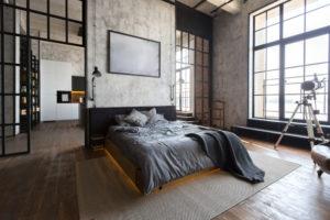 Dark wood flooring in bedroom