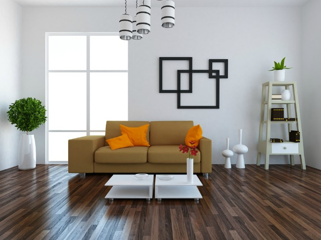 An image showing dark laminate floors