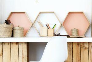 Hexagon shelves in an office