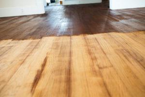 Stained hardwood floor